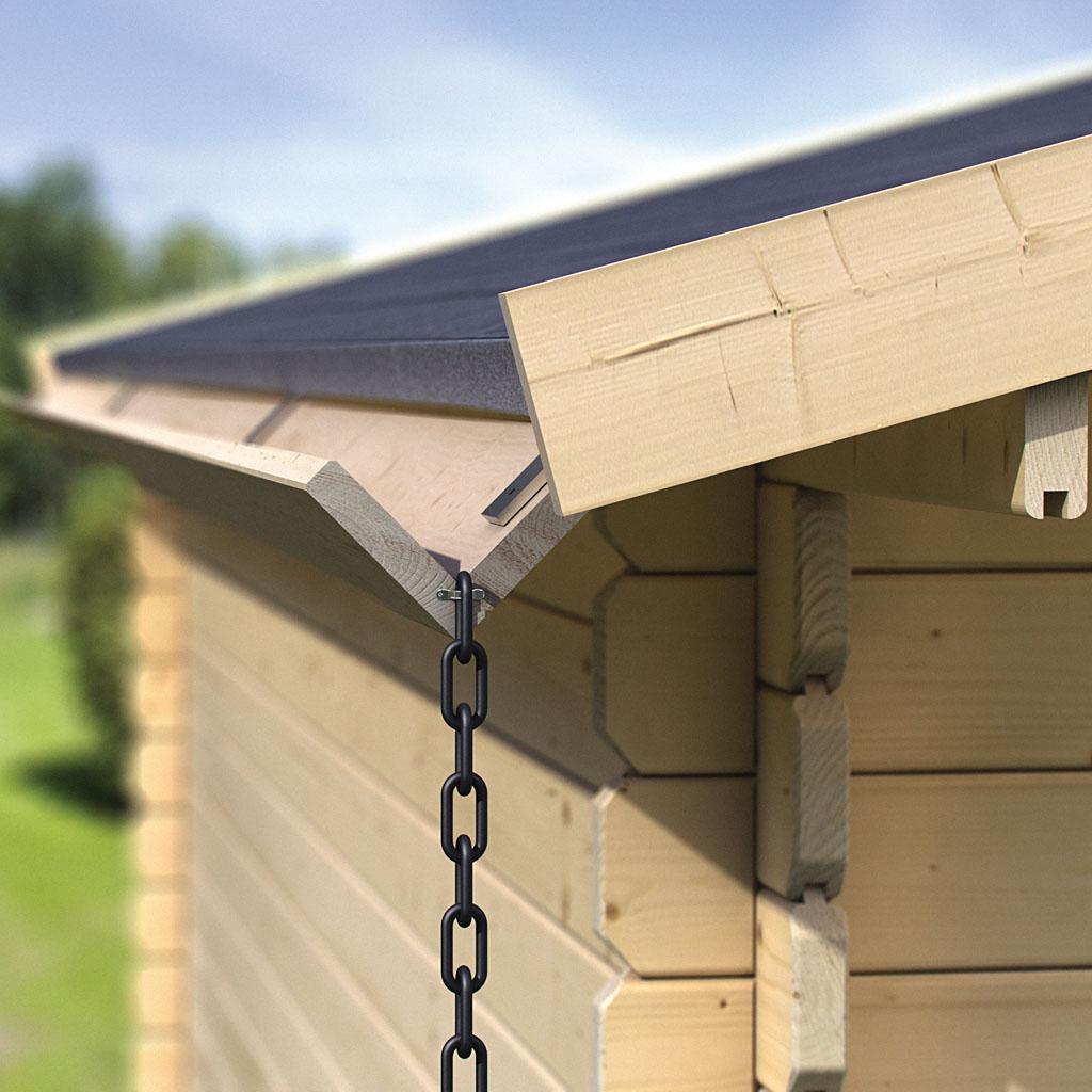 karibu holz dachrinne set 1 für flachdachhäuser
