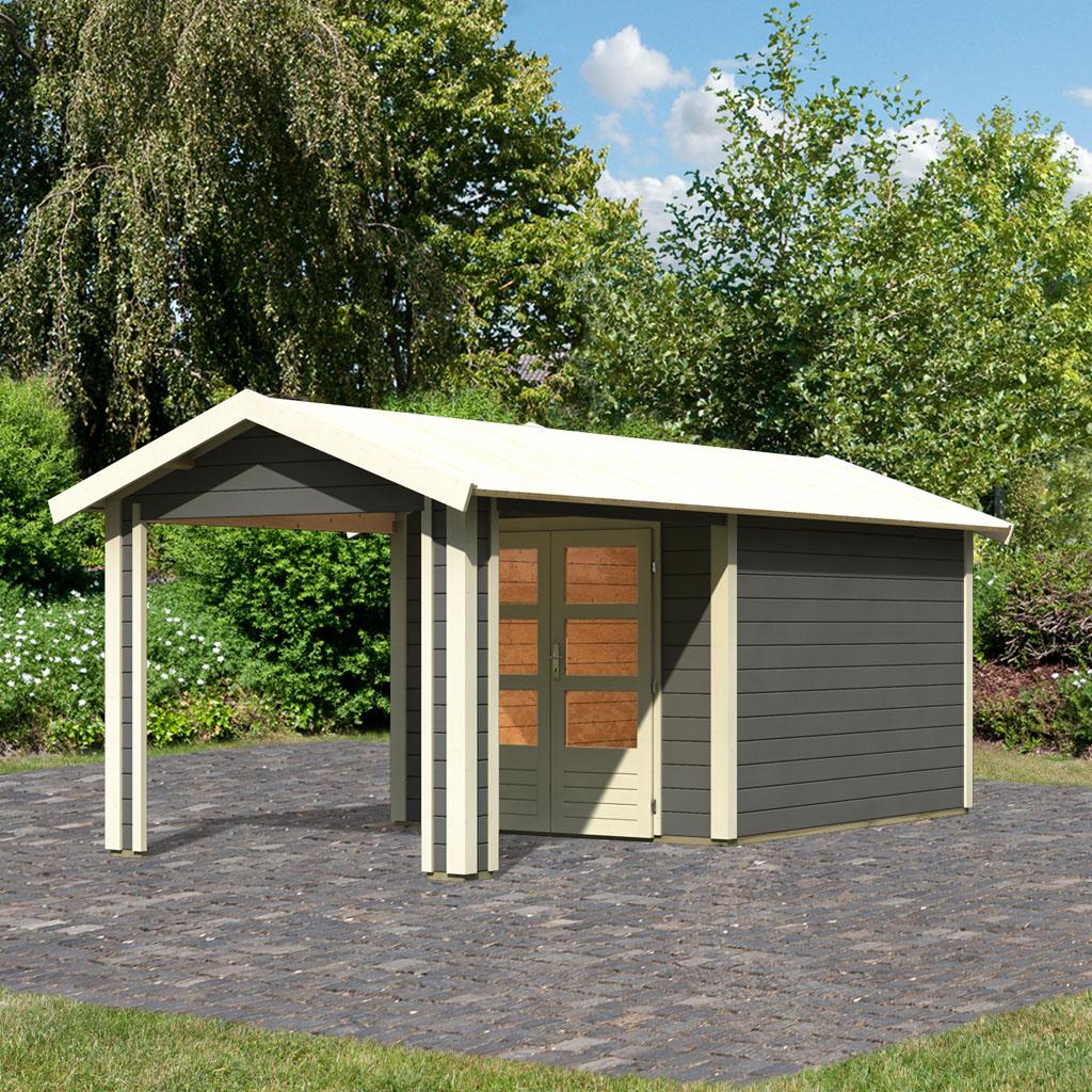 karibu gartenh user versandhandel by woodfeeling 28 mm gartenhaus tastrup 4 terragrau. Black Bedroom Furniture Sets. Home Design Ideas